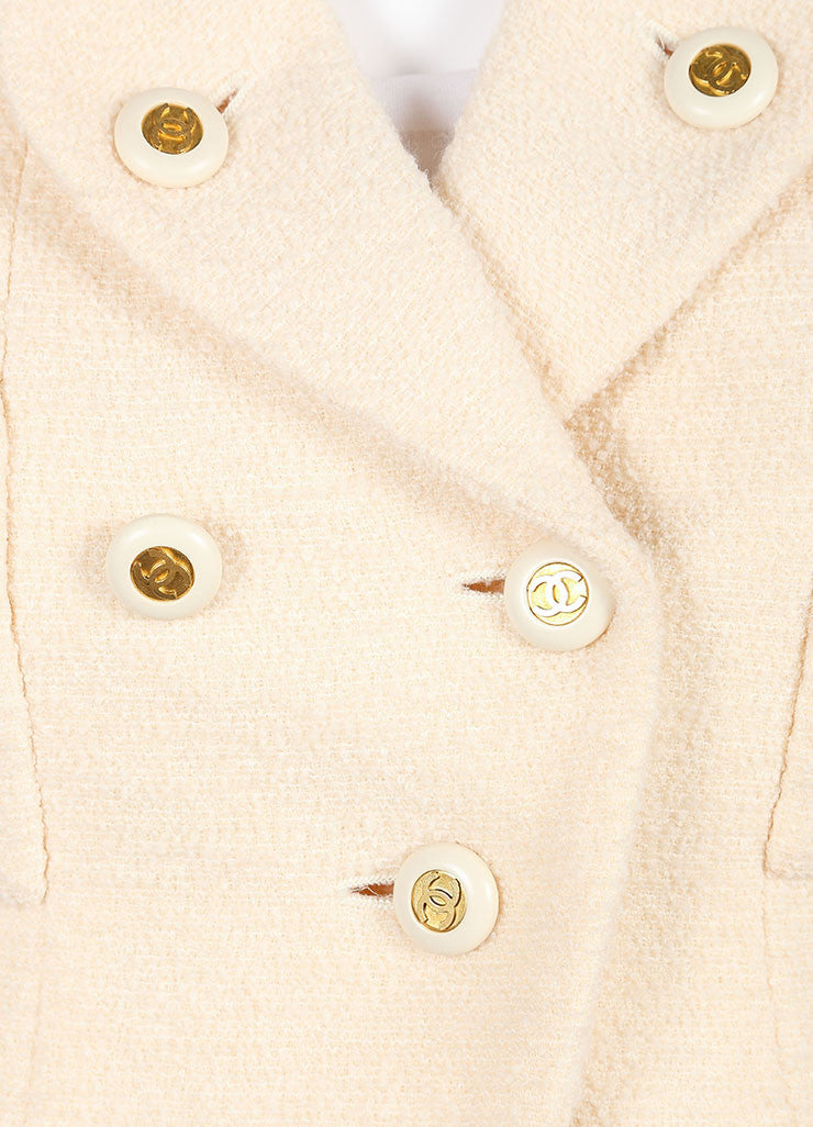 Chanel Cream Wool Tweed 'CC' Button Skirt Suit Detail