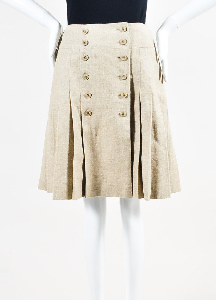 Tan Linen Chanel Gold Toned 'CC' Button Pleated Skirt Frontview
