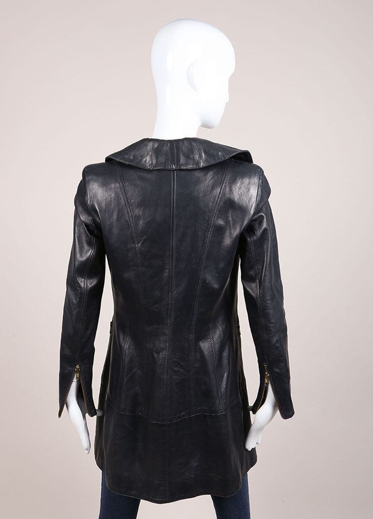 Claude Montana Navy Leather Long Sleeve Coat Backview