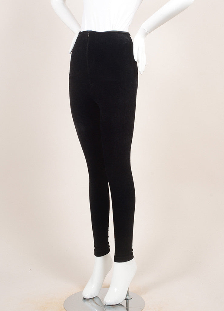 VINTAGE Gianni Versace Couture Black Velvet High Waisted Zippered Leggings SZ 42 Sideview