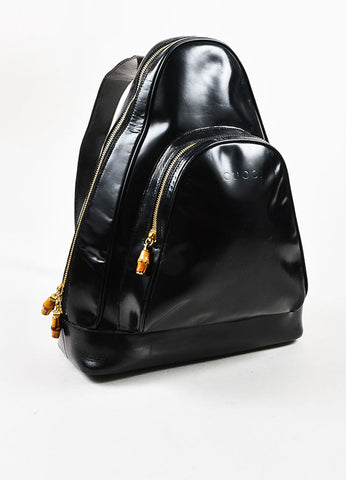 Black Patent Leather and Bamboo Accent Sling Backpack Frontview