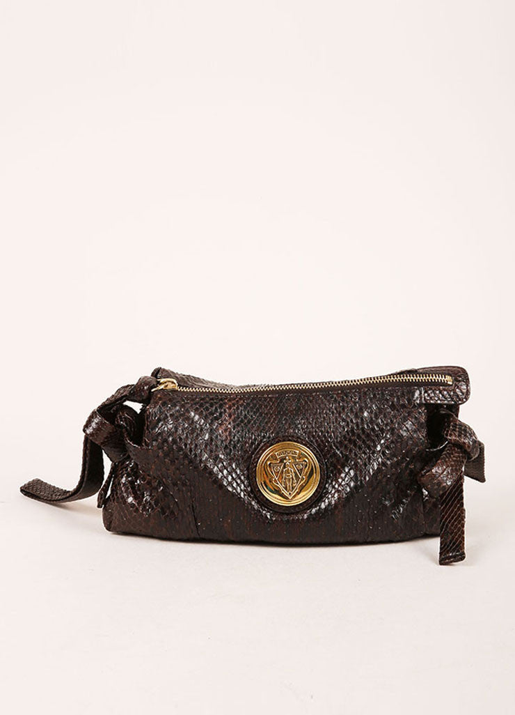 Gucci Brown Snakeskin Wristlet Clutch Bag Frontview