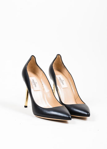 "Black Valentino Leather Gold Toned Pointed Rockstud ""Extreme"" Pumps Frontview"