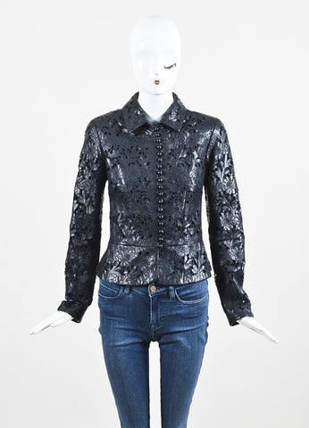 Valentino Black Leather Laser Floral Cut Crop Jacket Frontview 2