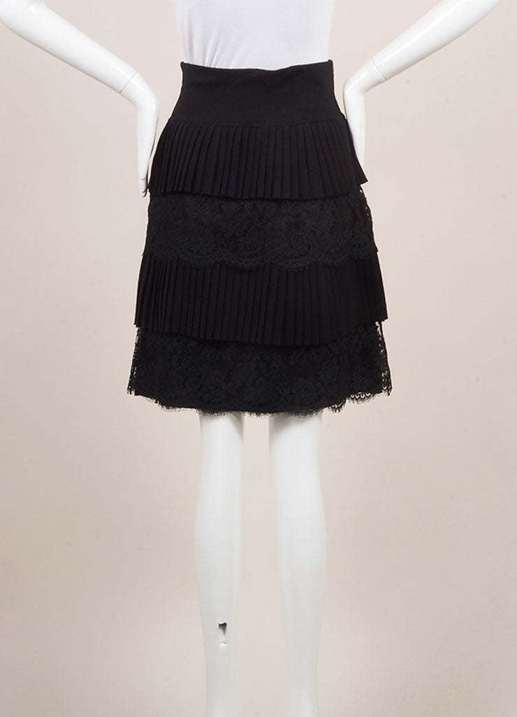 Valenitno Black Wool and Silk Lace Pleated Tiered Knee Length Skirt Backview