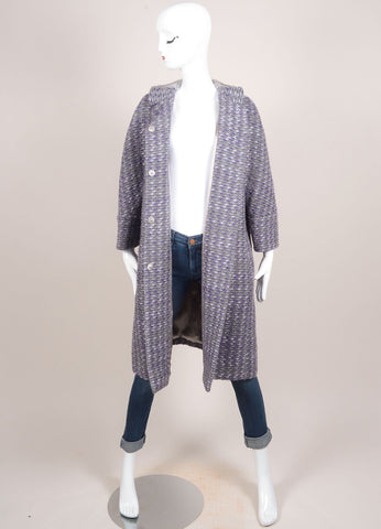 Valentino Grey and Purple Wool Woven Knit Fur Trim Long Sleeve Coat Frontview