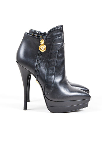Versace Black Leather Paneled Pointed Platform Ankle Booties Sideview