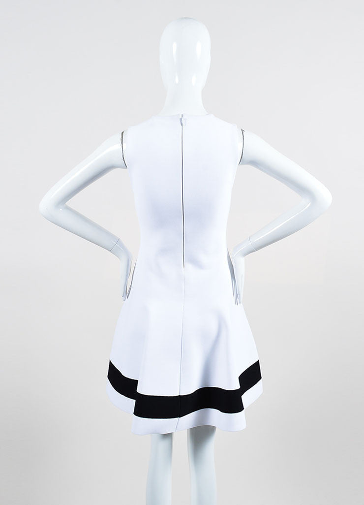 White Victoria Beckham Stretch Knit Sleeveless Dress Back