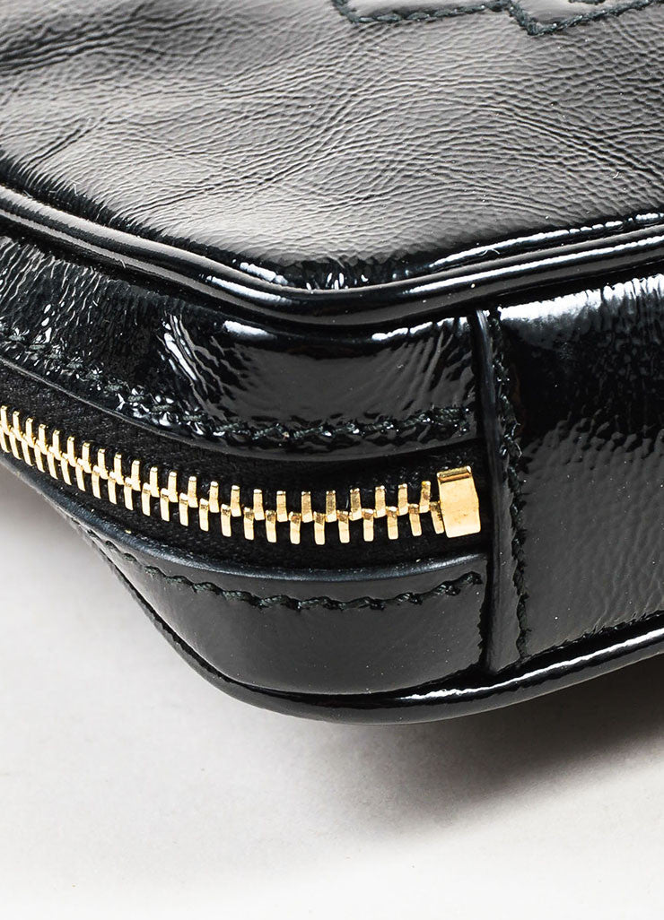"Yves Saint Laurent Black Patent Leather Zip Around ""Belle de Jour"" Wristlet Detail"