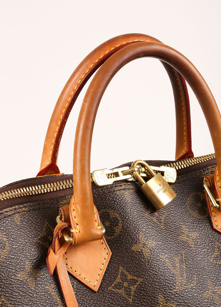 "Louis Vuitton Brown Monogram Canvas and Leather Zip ""Alma GM"" Bag Detail 2"