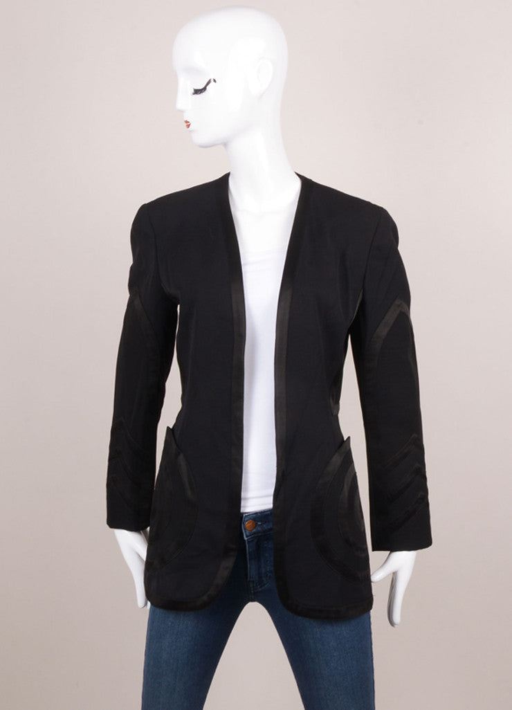 Black Wool Blazer With Geometric Trim