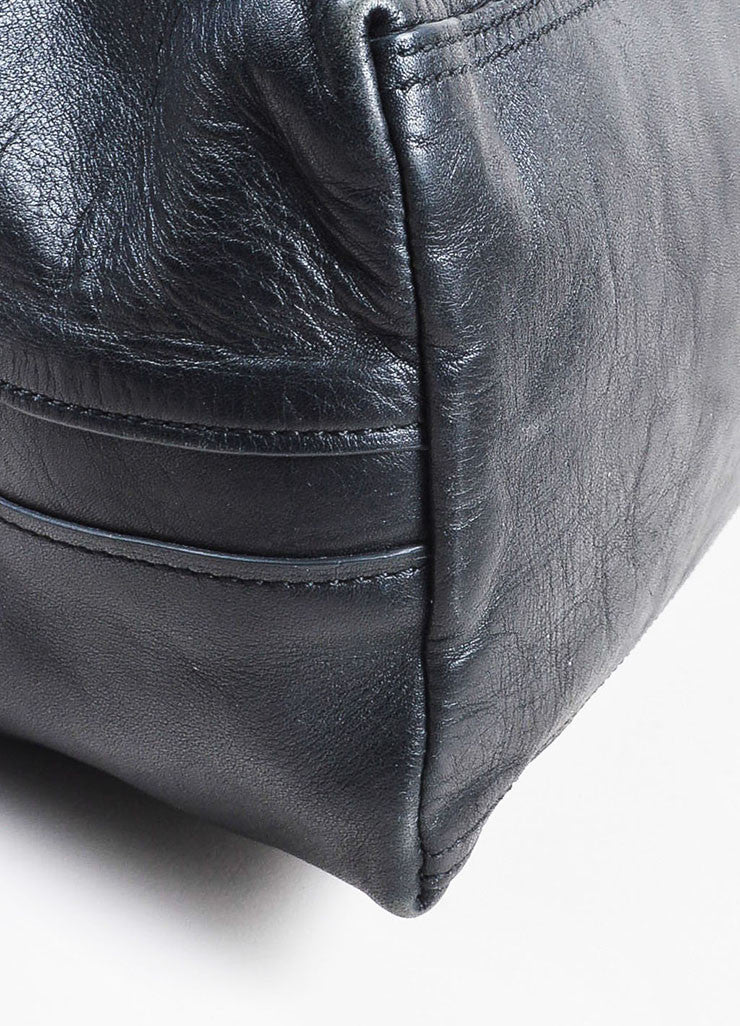 "3.1 Phillip Lim Black Leather Fold Over Silver Toned Zip ""31 Hour"" Bag Detail"
