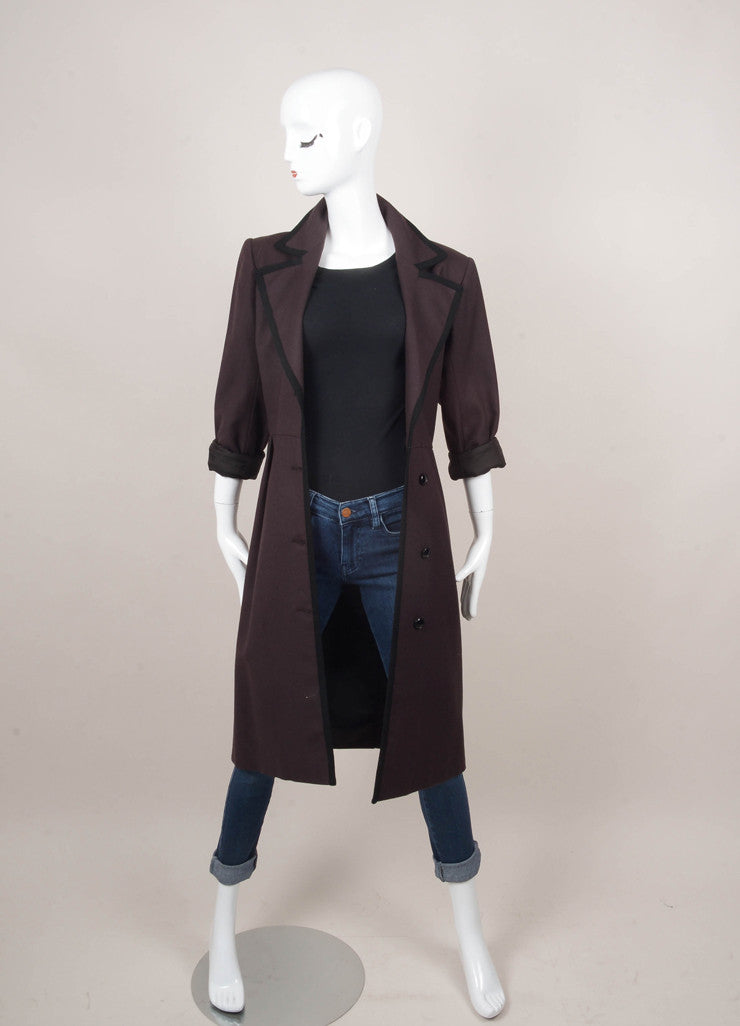 Brown and Black Long Sleeve Buttoned Coat