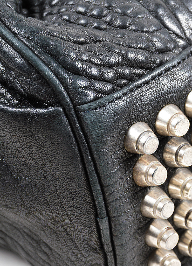 "Black Pebbled Leather Silver Toned Stud Alexander Wang ""Rocky"" Slouchy Handbag Detail"