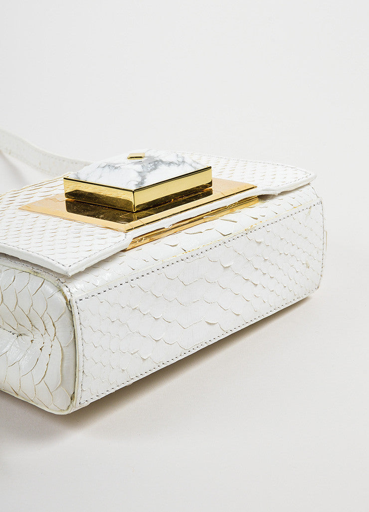 Andrew Gn White Python Skin Turn Lock Mini Brief Cross Body Bag Bottom View