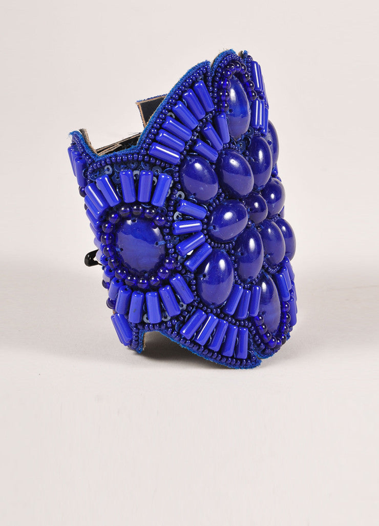 Andrew Gn New Blue Beaded Large Leather Cuff Bracelet Sideview