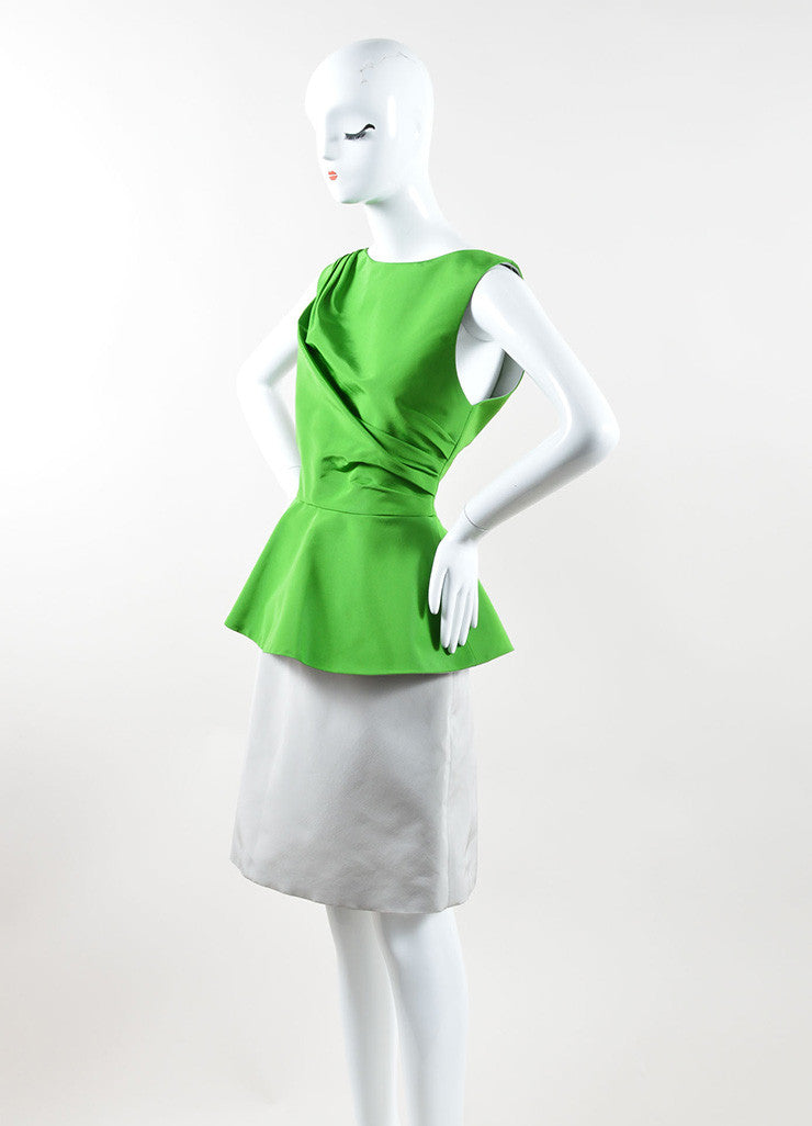 Andrew Gn Green and Grey Color Block Woven Taffeta Peplum Dress Sideview