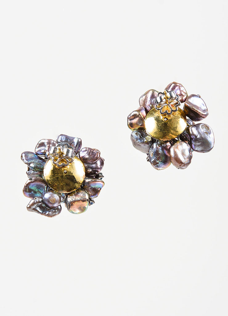 Black Pearl, Sapphire, Diamond, and 14K Gold Anuj Flower Post Earrings Backview