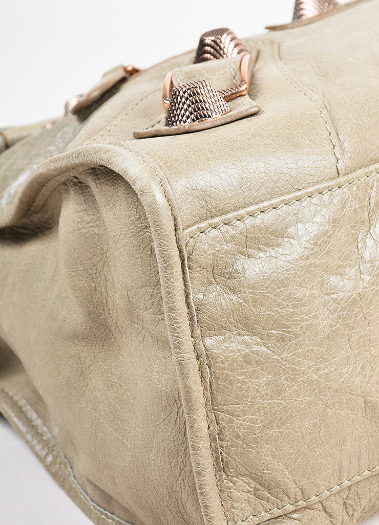"Balenciaga ""Papyrus"" Taupe Rose Gold Toned Leather ""Giant 21 City"" Bag Detail"
