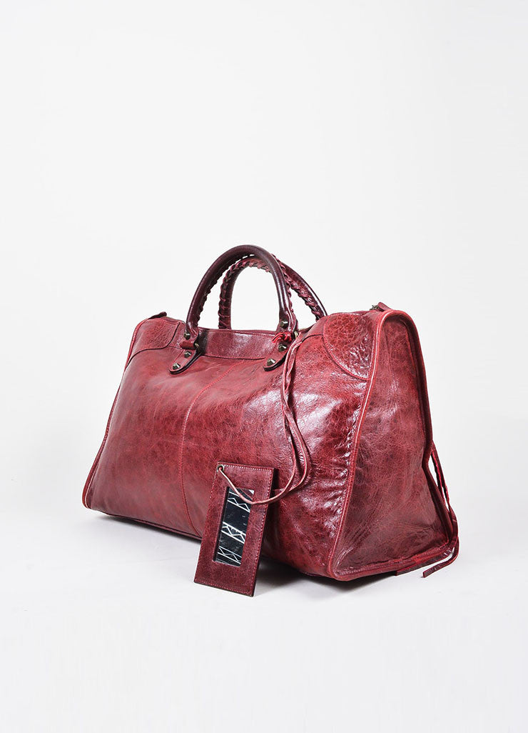 "Balenciaga Maroon Red Leather ""Classic Work"" Satchel Tote Bag Sideview"
