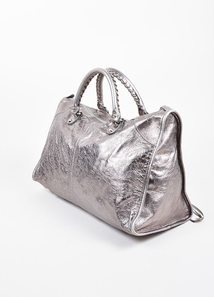 "Balenciaga Metallic Gunmetal Leather Silver Toned Stud Zip ""Classic Work"" Bag Sideview"