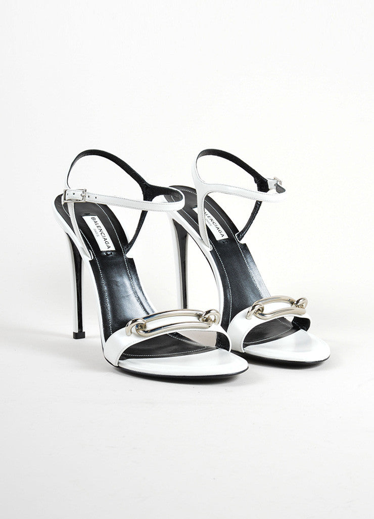 White and Silver Balenciaga Leather Strappy Buckle Maillon Sandals Frontview