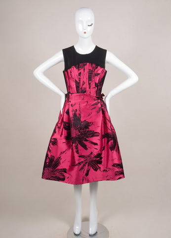Benhaz Sarafpour Pink and Black Silk and Satin Mesh Floral Print Sleeveless Dress Frontview