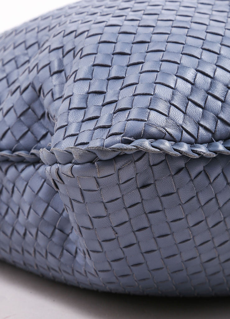 "Bottega Veneta Blue Basketwoven Intrecciato Leather ""Maxi Veneta"" Hobo Bag Detail 1"