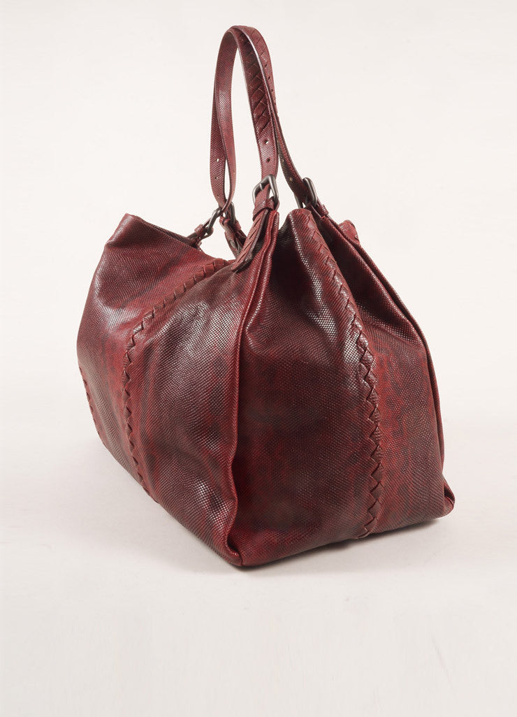 Bottega Veneta Dark Red Snakeskin Intrecciato Woven Trim Tote Bag Sideview