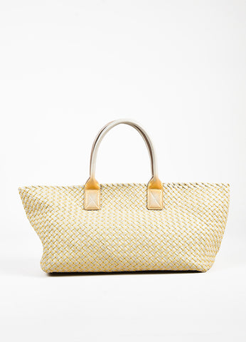 "Bottega Veneta Taupe Gold Intrecciato Woven Leather Top Handle ""Cabat"" Tote Bag Frontview"
