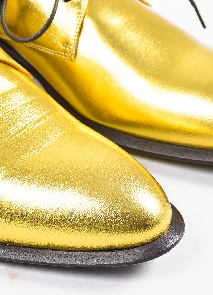 Celine Gold Metallic Leather Lace Up Oxfords Detail