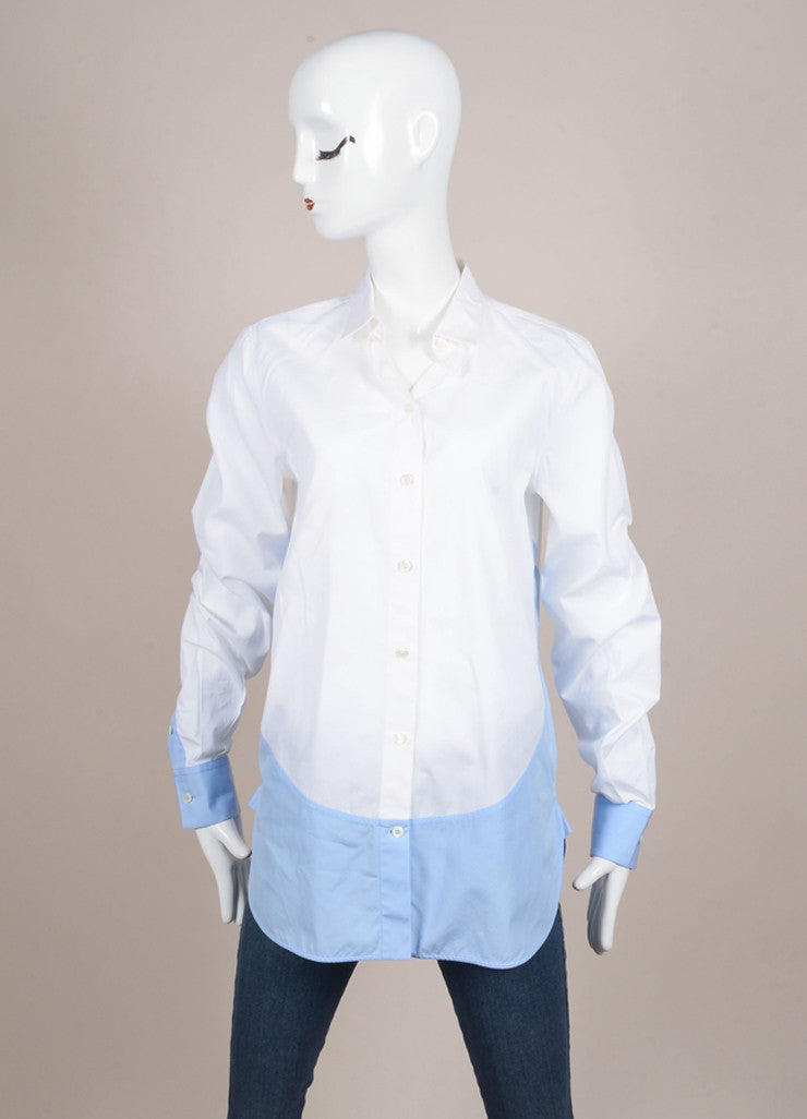 Celine White and French Blue Poplin Color Block Button Down Dress Shirt Frontview