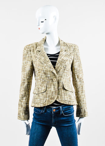 Beige and Brown Chanel Cotton Tweed Fitted Jacket Frontview