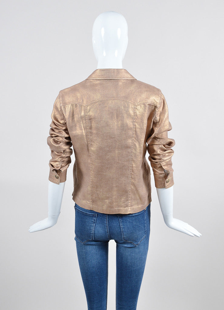 Metallic Gold Chanel Linen and Silk Button Up Jacket Backview