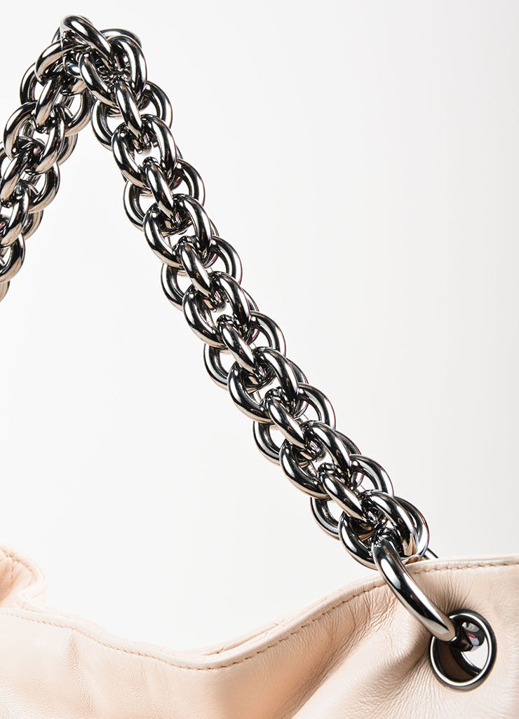 "Chanel ""Beige"" Cream Lambskin Leather Chain Handle 'CC' Stitch Hobo Bag Detail 2"