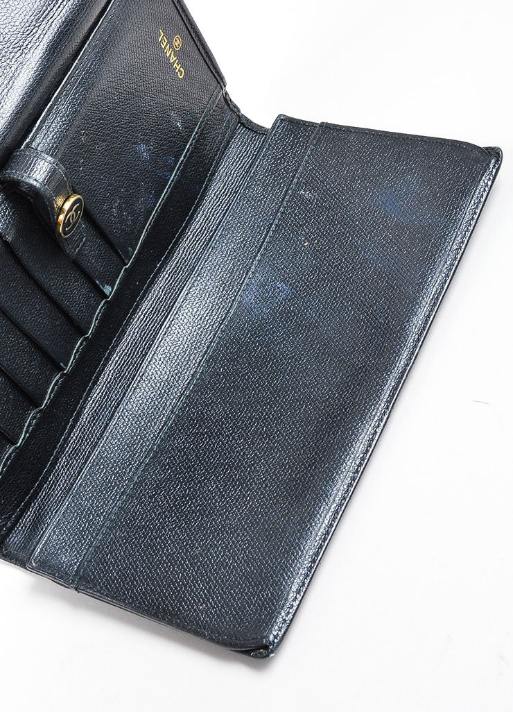 Black Chanel Leather Bifold Continental Wallet Detail 2