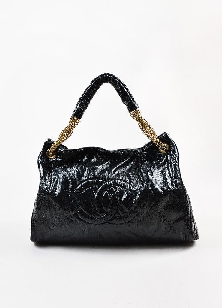 "Chanel Black Patent Crinkle Leather Gold Toned Chain ""Rodeo Drive"" Tote Bag  Frontview"
