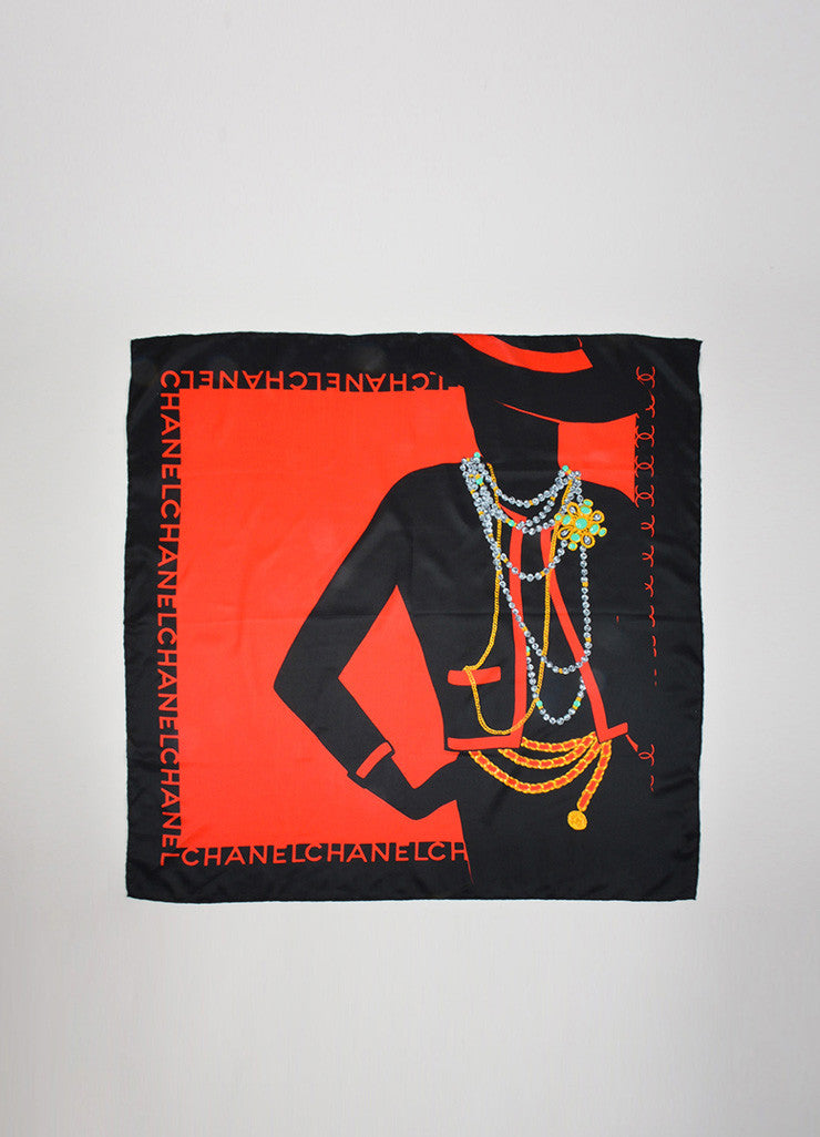 Black and Red Chanel Silk Coco Chanel Silhouette Jewelry Square Scarf Frontview 2