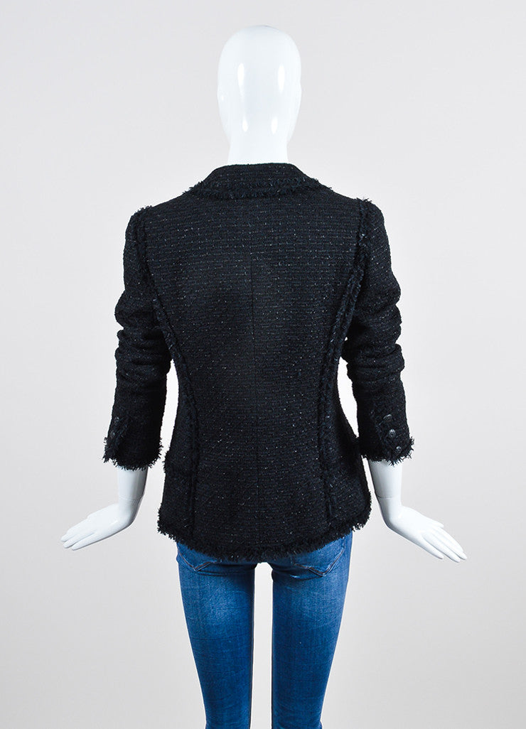 Black Chanel Woven Tweed Knit Fringe Trim Metallic Blazer Backview