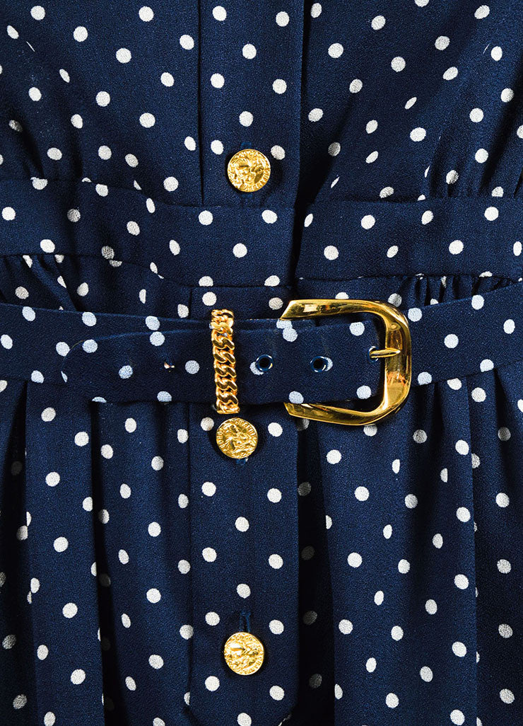 Chanel Navy and Beige Crepe Polka Dot Printed Short Sleeve Belted Shirt Dress Detail