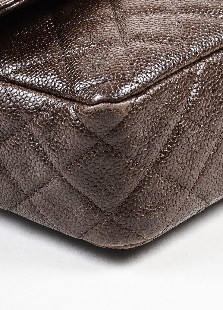 "Brown Chanel Quilted Caviar Leather ""Medium Double Flap"" Shoulder Bag Detail"