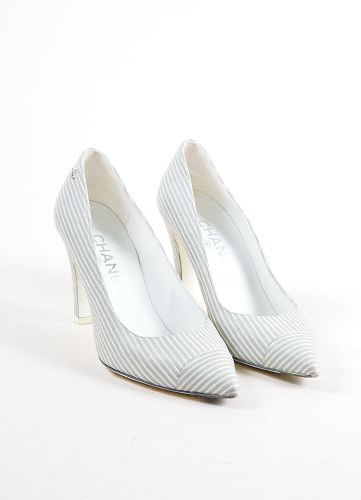 Grey and White Chanel Leather Pinstripe Pointed Cap Toe Heels Frontview