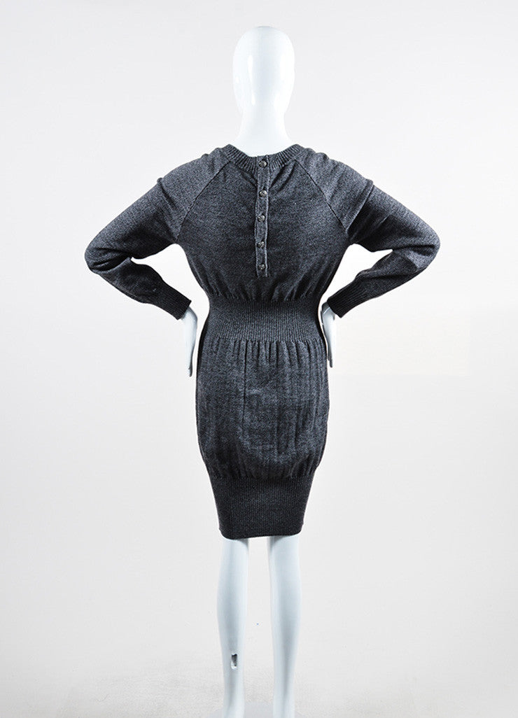 Grey and Black Chanel Wool Long Sleeve Rib Knit Sweater Dress Backview