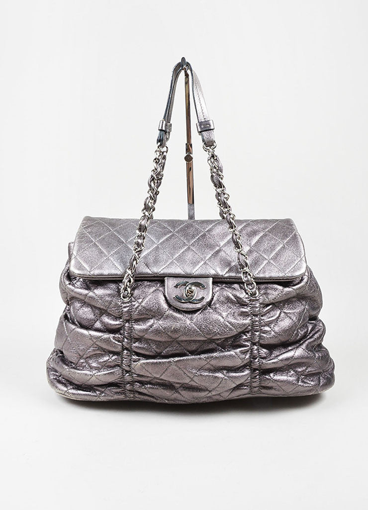 "Metallic Silver Leather Quilted Chanel ""Sharpei"" Flap Shoulder Bag Frontview"