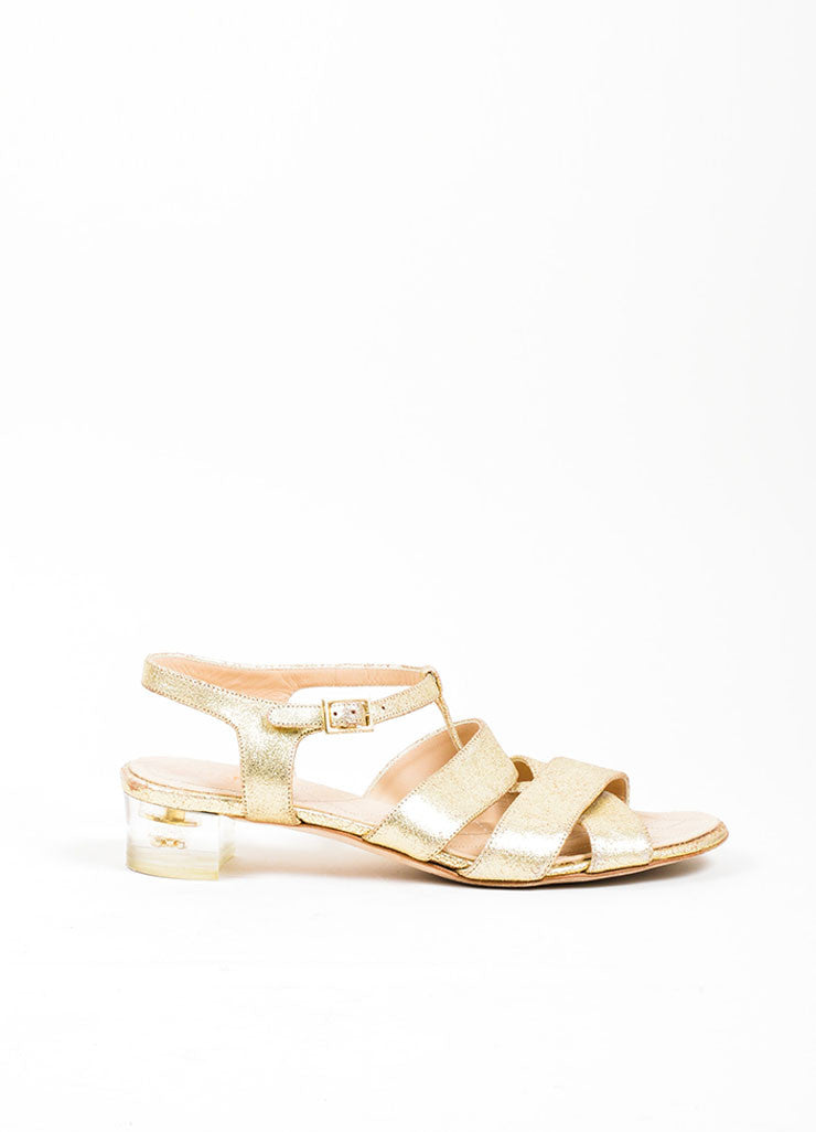 Gold Chanel Metallic Leather Cross Ankle Strap Sandals Sideview