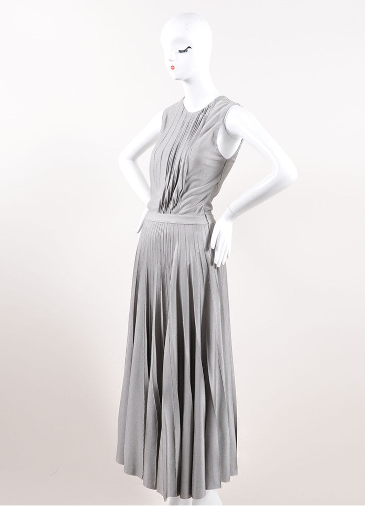 Christian Dior Grey Silky Knit Pleated Maxi Dress Sideview
