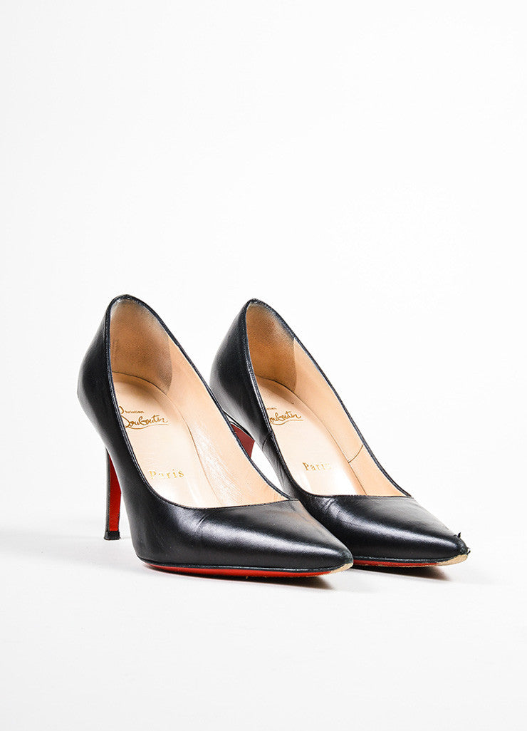 "Black Christian Louboutin Leather ""New Hai 85MM"" Pointed Toe Pumps Frontview"