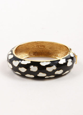 Ciner Gold Toned, Black, and White Enamel Patterned Hinge Bangle Bracelet Frontview