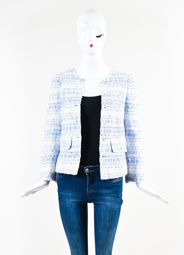 Dolce & Gabbana Blue and White Poplin Removable Tweed Long Sleeve Shirt Jacket Frontview