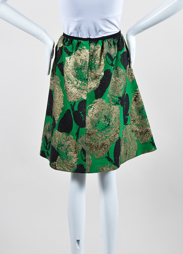 "Green, Gold, and Black Erdem Floral Jacquard ""Kitty"" A-Line Skirt Backview"